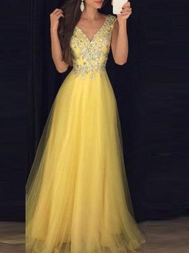 Deep v neck sleeveless elegant long evening dresses