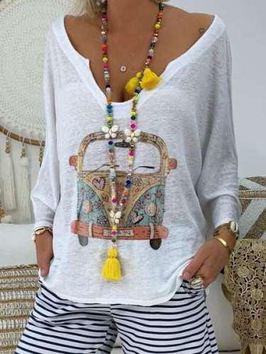 Casual Print V neck Long sleeve T-Shirts