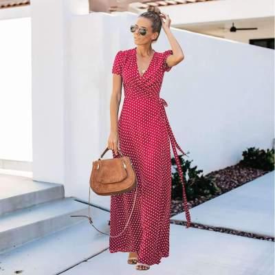 Fashion Point print Short sleeve V neck Lacing Maxi Dresses