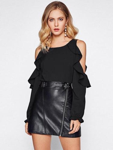 Fashion Off shoulder Long sleeve  Falbala T-Shirts