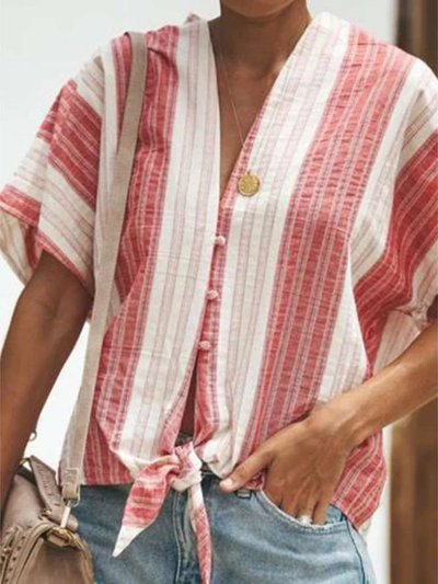 Casual Loose Stripe V neck Short sleeve Blouses