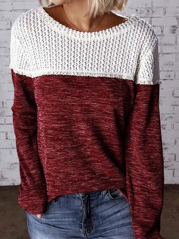 Fashion hollowed-out patchwork round neck sweaters