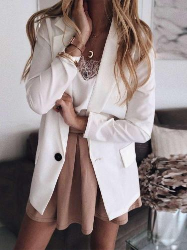 Fashion Casual Pure Fastener Tee Blazer