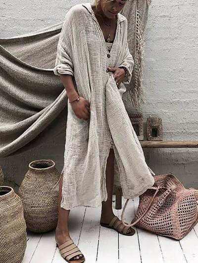 Solid V Neck Cotton Fall Long Sleeve Maxi Dresses