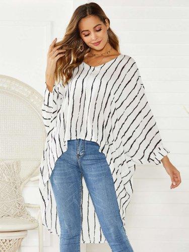 Loose Stripe V neck Irregular Long sleeve Blouses