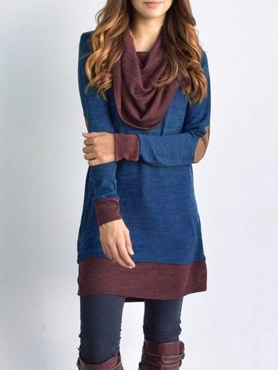 Color Matching Plain Woman Daily Shift Dress