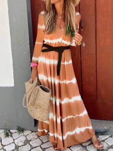 Long sleeve large stripe long maxi dress