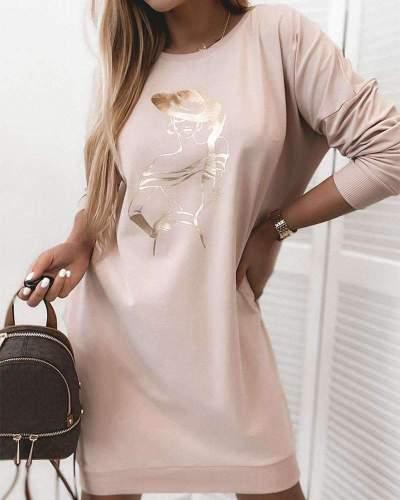 Fashion Print Round neck Long sleeve Shift Dresses