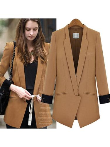Turn-down Plain Elegant Pocket Blazer Coat