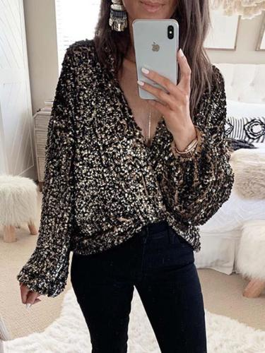 Casual sequins long sleeve blouses