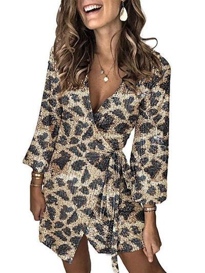 Leopard print sequined skater evening dresses