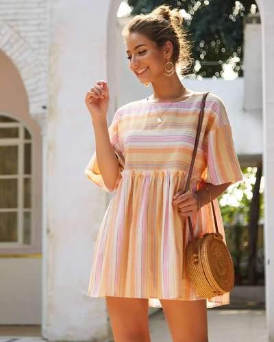 Fashion Stripe Gored Round neck Shift Dresses