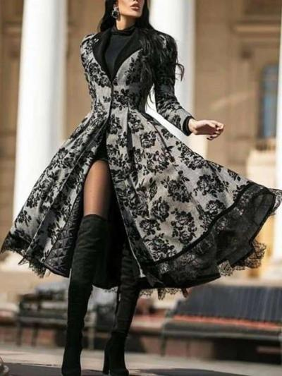 Fashion Print Lace Lapel Long sleeve Coat Maxi Dresses