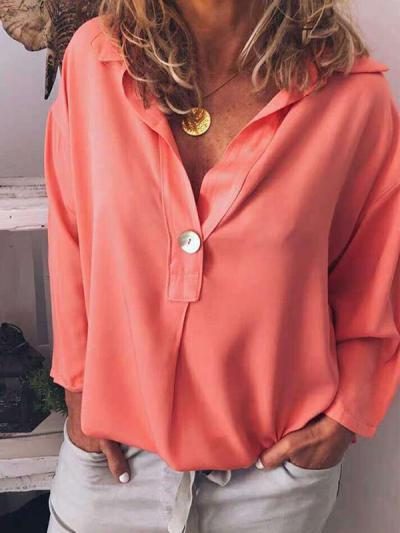 Loose solid v-neck long sleeve Blouses