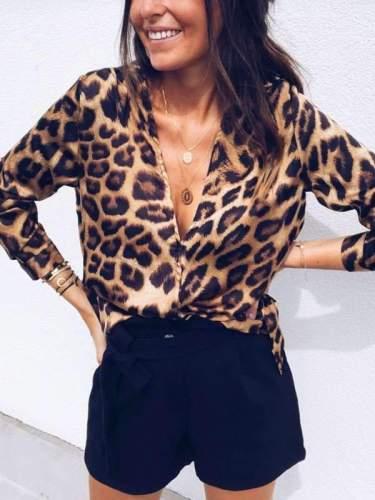 Sexy Big Leopard Printed Long Sleeve Deep V neck T-shirts