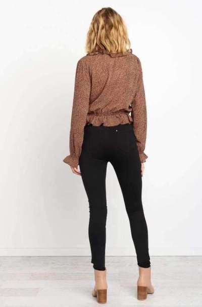 Fashion falbala V neck Leopard print Long sleeve Blouses