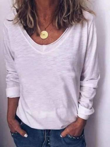 Casual Pure Long sleeve V neck T-Shirts