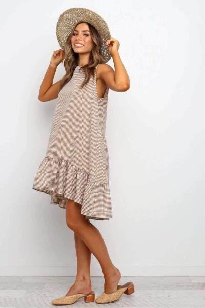 Fashion Round neck Plaid Sleeveless Shift Dresses