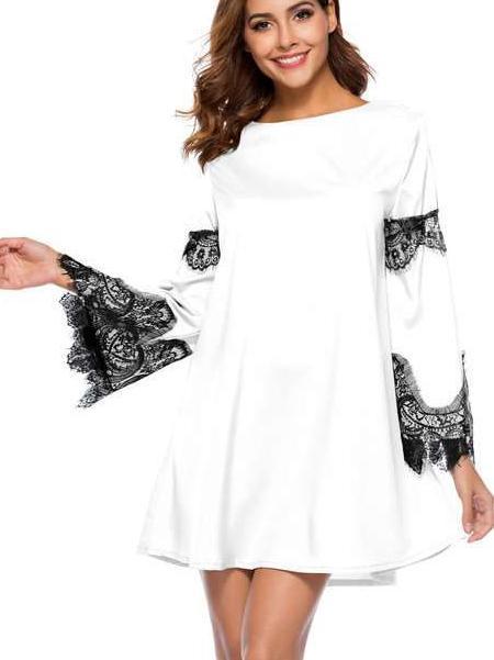 Fashion Lace Gored Round neck Long sleeve Shift Dresses