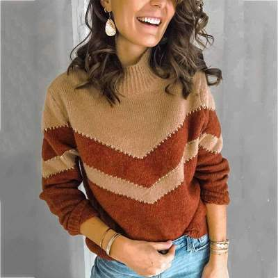Fashion Stripe High collar Long sleeve Sweaters
