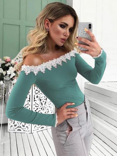 Sexy sweet off shoulder women long sleeve T-shirts