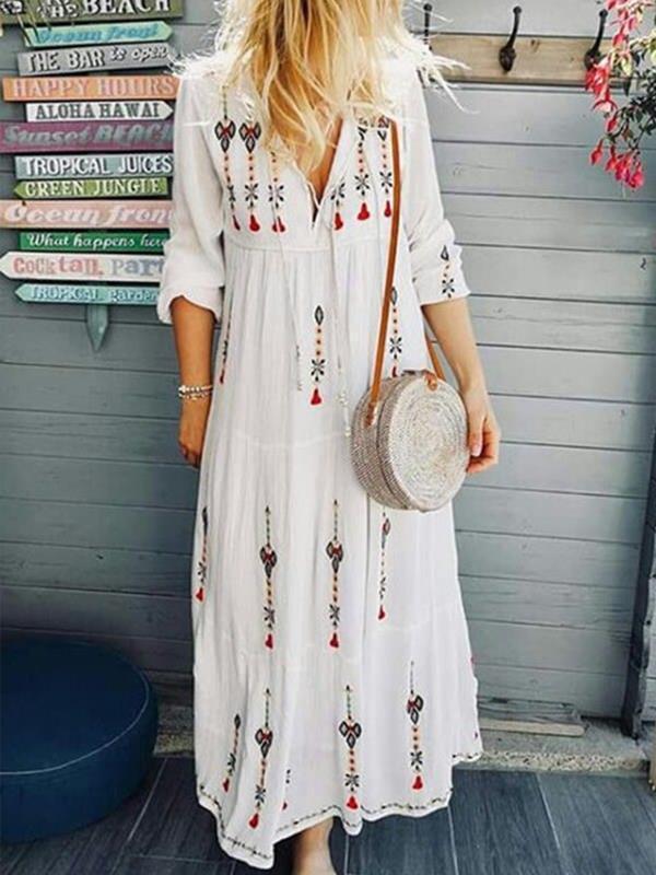 Printed v neck women long sleeve maxi dresses