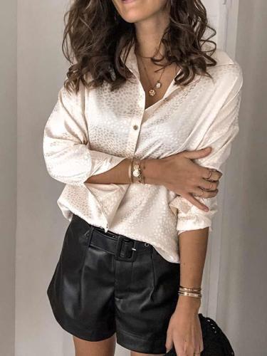 Women stylish printed turn down neck blouses