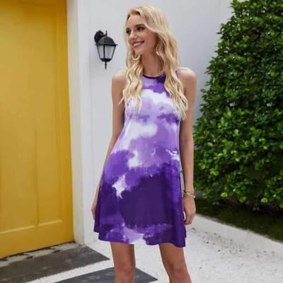 Fashion Print Round neck Sleeveless Shift Dresses