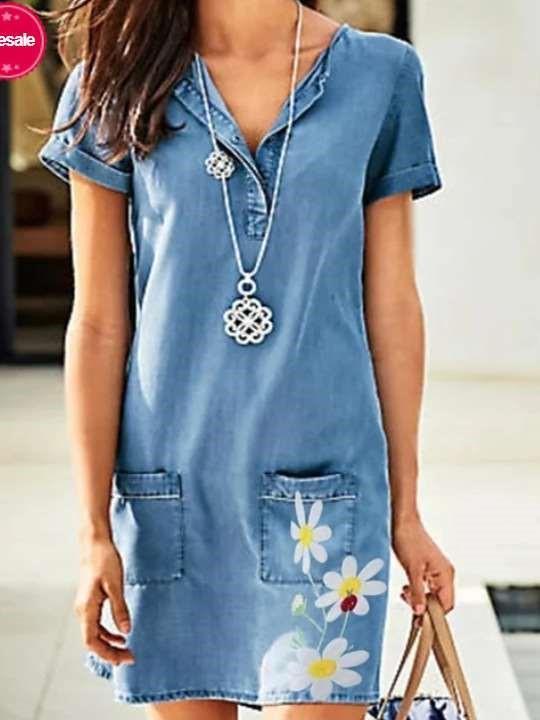 Casual Print V neck Short sloeeve Pocket Jean Shift Dresses