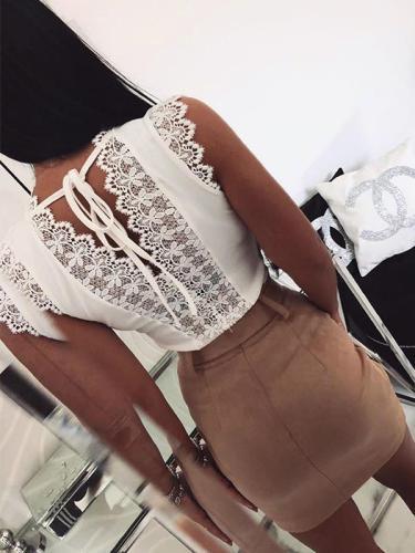 Sexy lace decoration plain sleeveless  v neck vests shirts