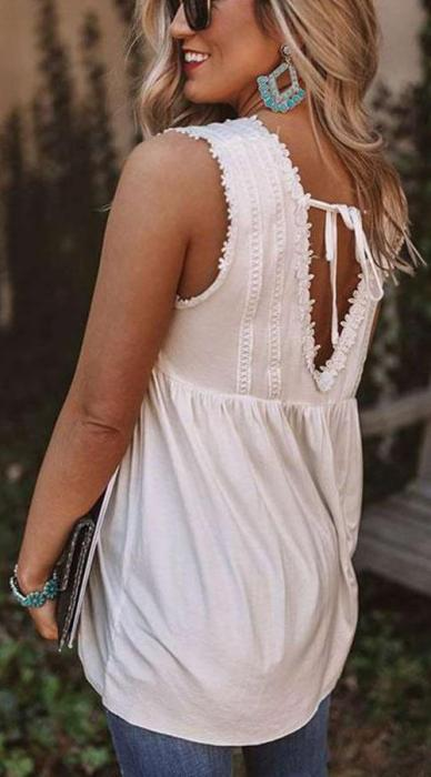 Casual Loose Pure Backless Vests