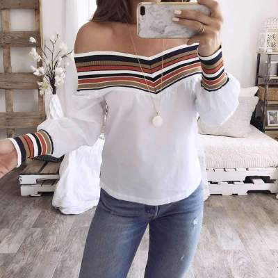 Fashion Off shoulder Gored Long sleeve Blouses
