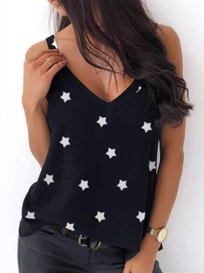 Fashion Casual V neck Print Vest Backless T-Shirts