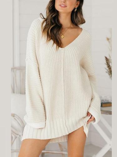 Loose v neck long sleeve knit sweater shift dresses