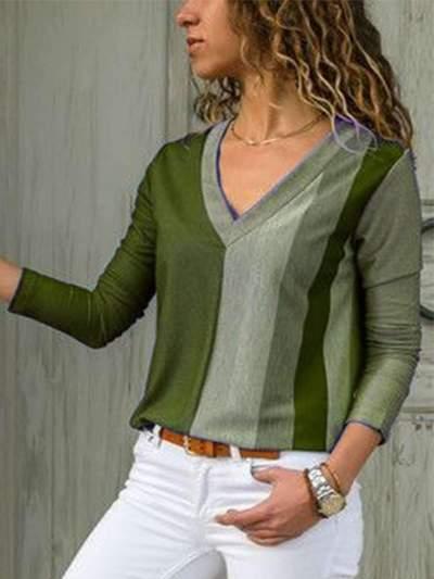 Fashion Casual Gored V neck Long sleeve T-Shirts