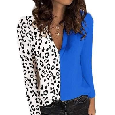 Fashion Leopard print Gored V neck Long sleeve T-Shirts