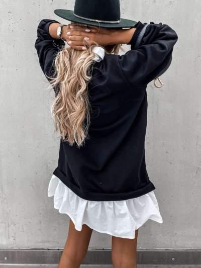 Fashion Gored Lapel Long sleeve Sweatshirts Shift Dresses