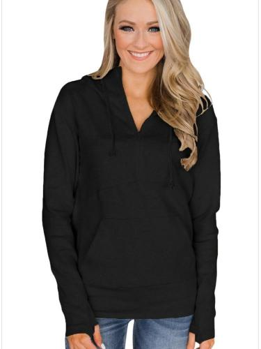 New Women Long sleeve Black Hoodies & Sweatshirts