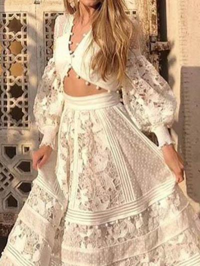 Women fashion v neck two pieces maxi dresses