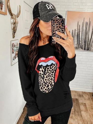 Loose printed off shoulder pullover Sweatshirts