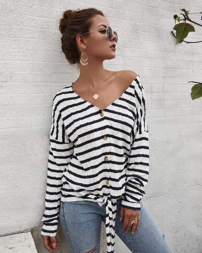 Fashion V neck Stripe Long sleeve Sweaters