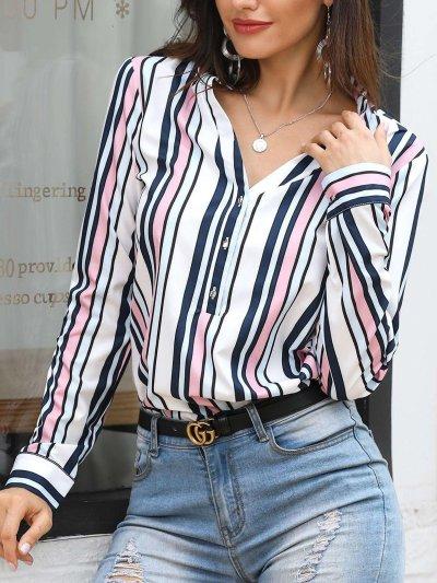Fashion Stripe V neck Long sleeve Blouses
