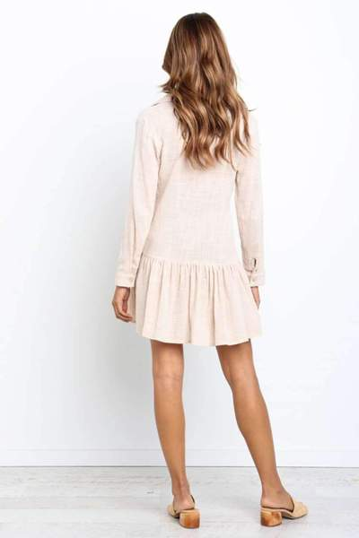 Fashion Drape Long sleeve Lapel Shift Dresses