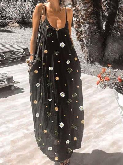 Casual Loose Sexy Print Round neck Vest Maxi Dresses