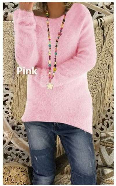 Loose Pure Long sleeve Plush Round neck Sweaters