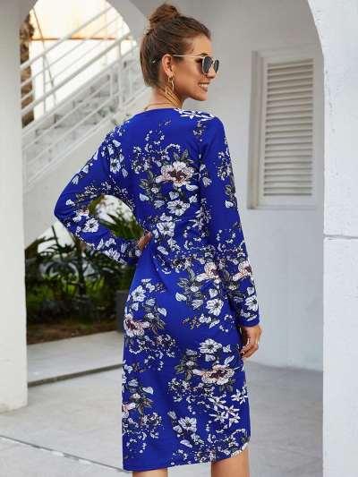 Fashion Print Drape V neck Long sleeve Skater Dresses