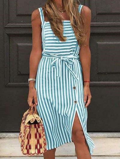 Fashion Stripe Vest Lacing Backless Square collar Skater Dresses