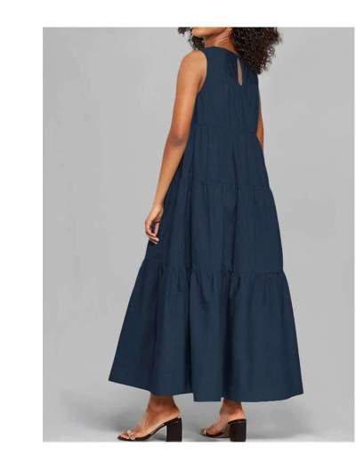 Casual Pure Round neck Sleeveless Gored Maxi Dresses
