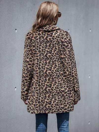 Fashion Casual Leopard print Lapel Long sleeve Coats