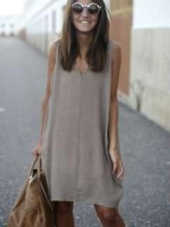 Casual Pure V neck Sleeveless Shift Dresses